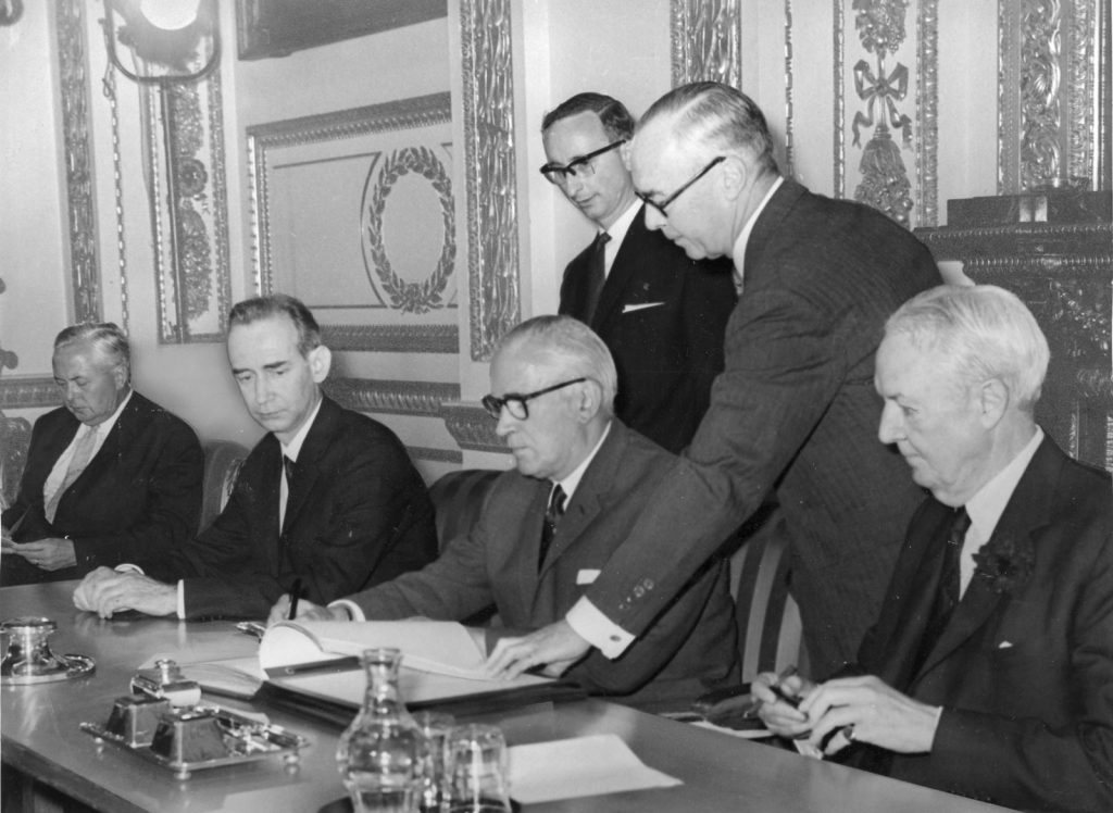 British Foreign Secretary Michael Stewart (third from right) signing the Treaty on the Non-Proliferation of Nuclear Weapons, London, 1968